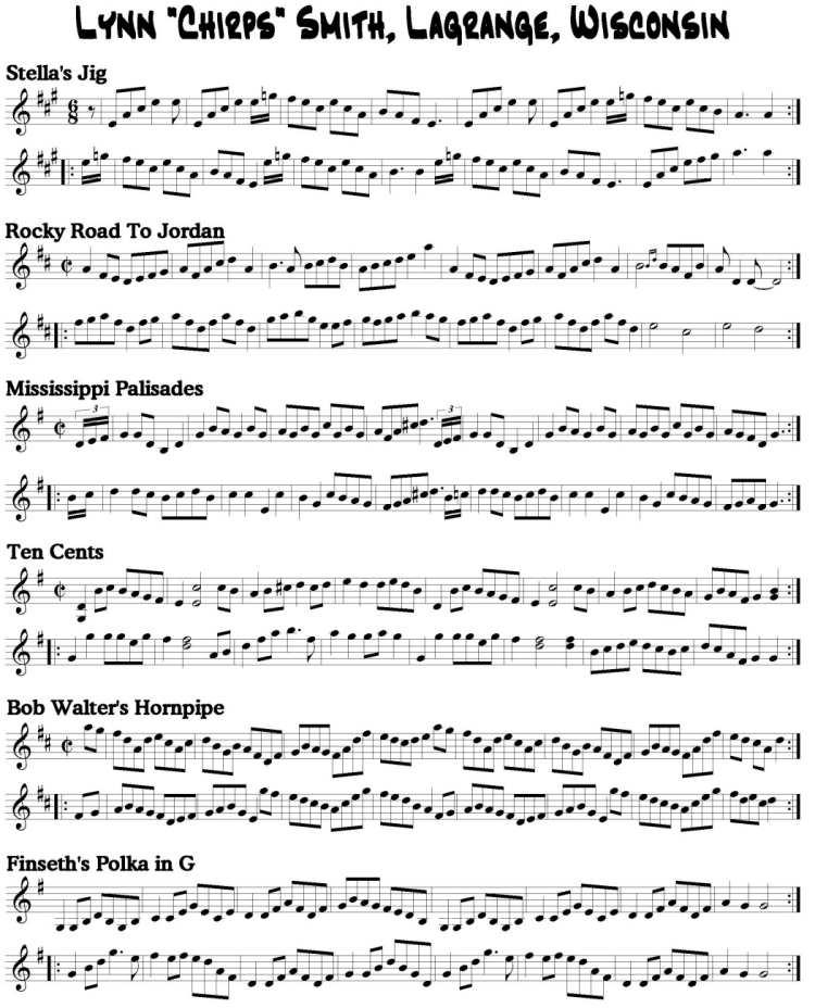 Notation of Chirps Smith tunes
