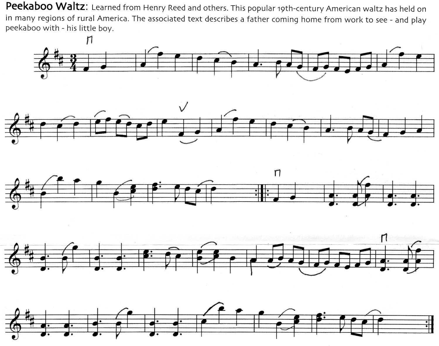 Notes for Peekaboo Waltz