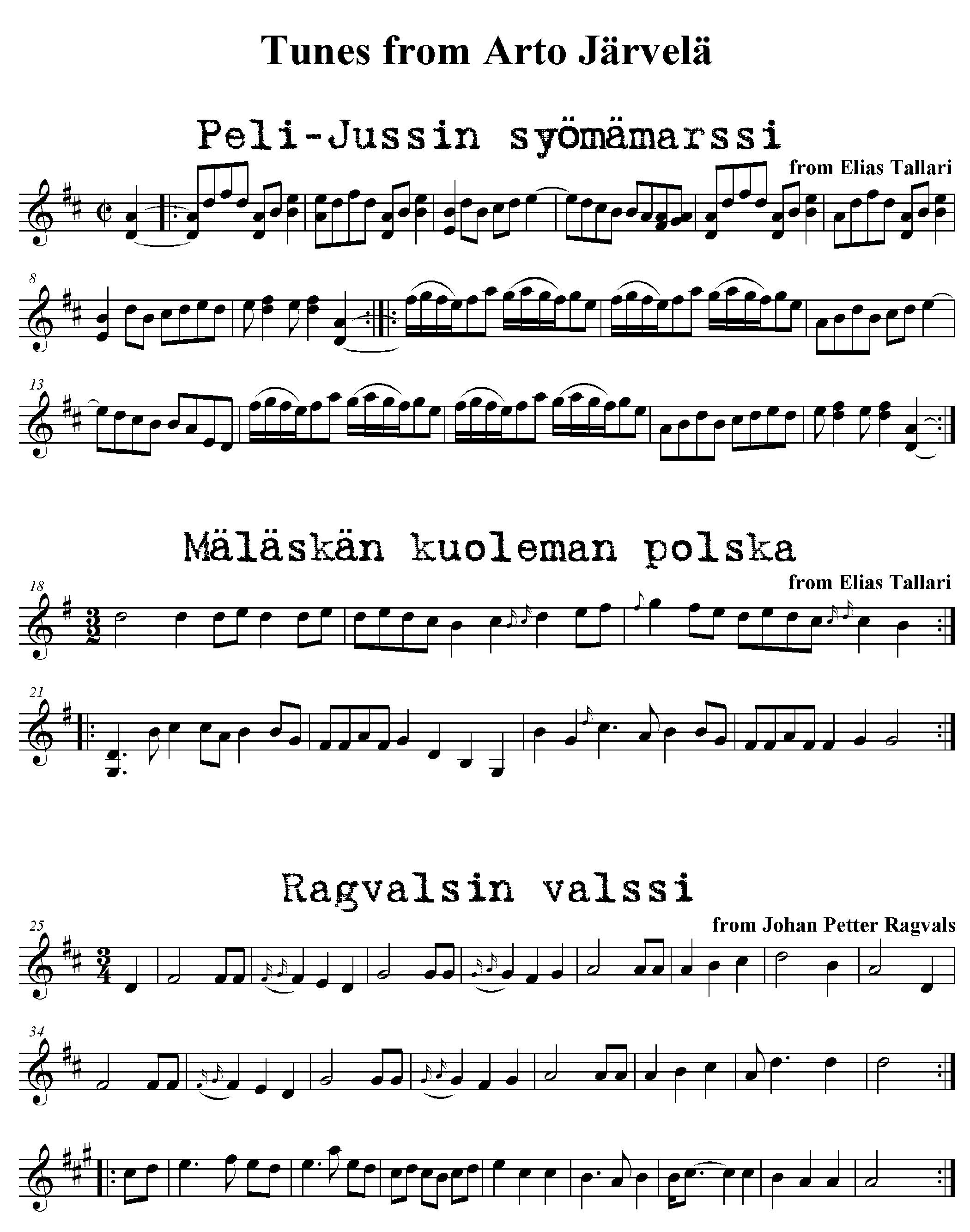 Notation of Arto Jarvela tunes